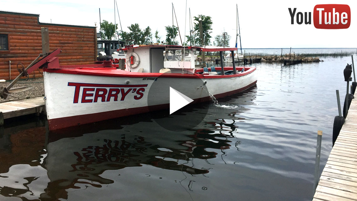 Top Rated Bass Boat in a Deep Concrete Dock Ramp Boat Launch Harbor on Lake Mille Lacs