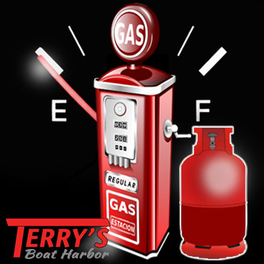 LP-gas, or LPG Tank Refills available at Terry's Boat Harbor, We also sell Gasoline for your Boat Engines